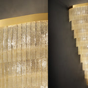 Mid Century-style Floated glass corner chandelier with 'Graniglia' granulated glass finish.