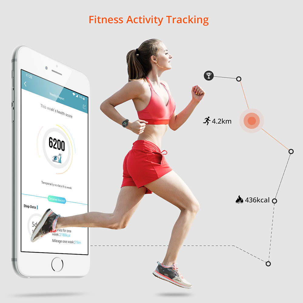 Men Women Fitness Tracker Smart Watch,Heart Rate Blood Pressure Monitor Sleep Tracker,Waterproof Smartwatch Compatible with Android iOS Phone Blue