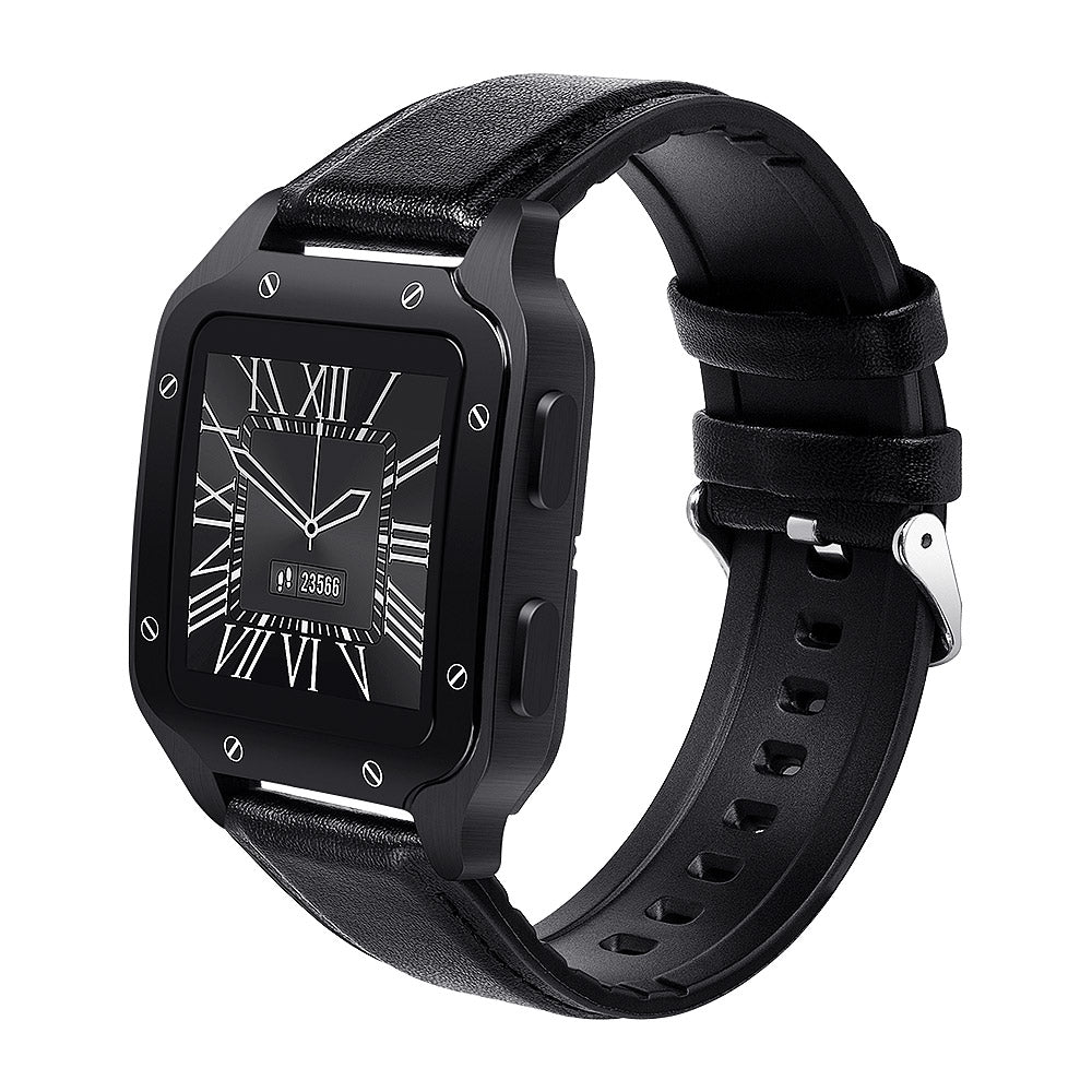 colmi land 2 smart watch leather strap black