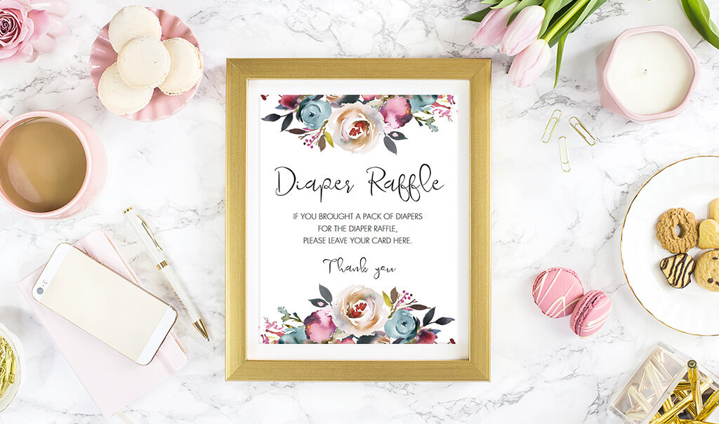 Bohemian baby shower diaper raffle sign printable