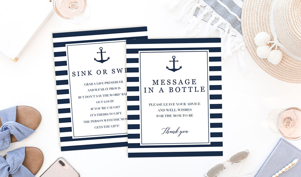 Navy Baby Shower Nautical themed signs printable