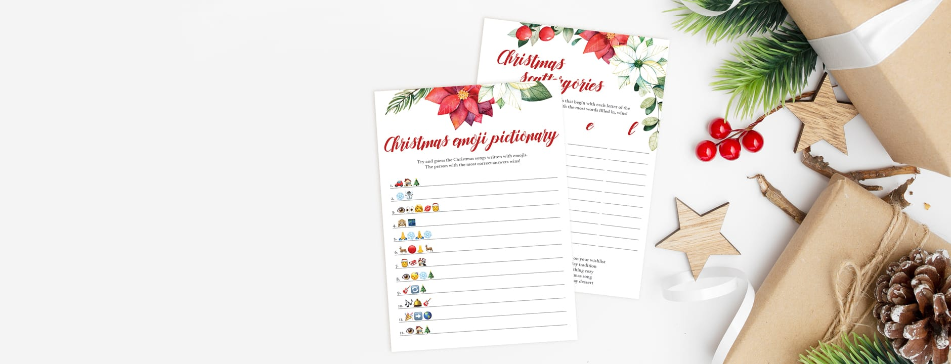 Poinsettia Christmas games instant download