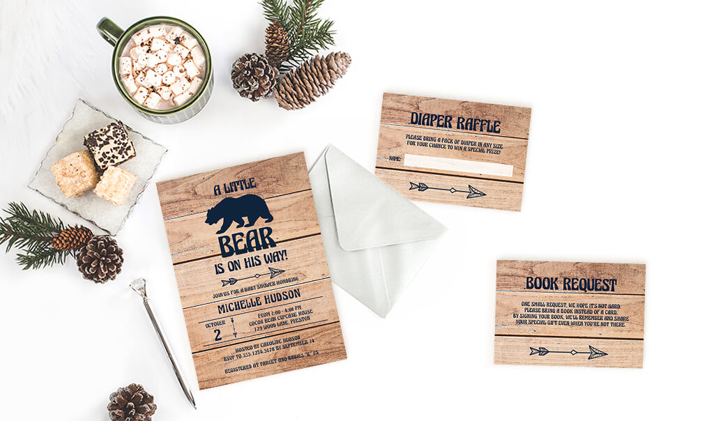 Woodland animals baby shower invitation set template download