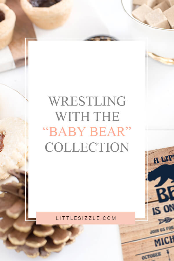 Wrestling with the baby bear baby shower collection
