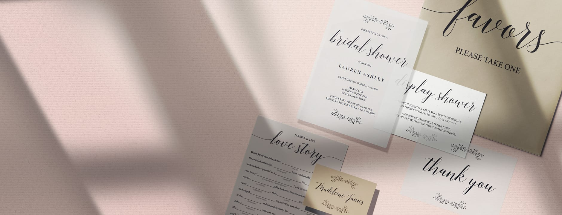 specialty paper for bridal shower stationery