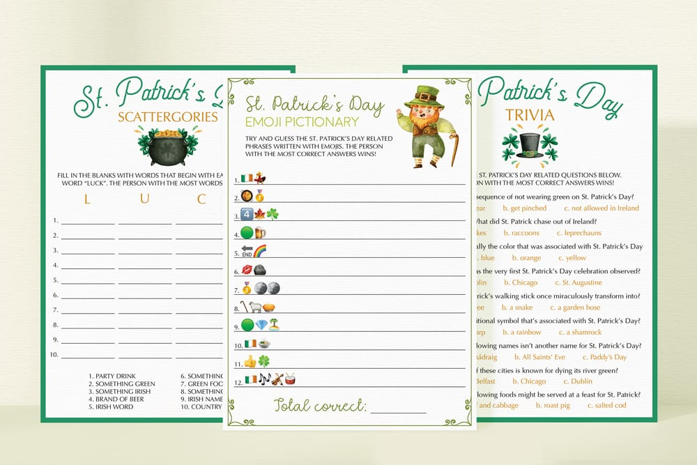 virtual st patricks day games instant download