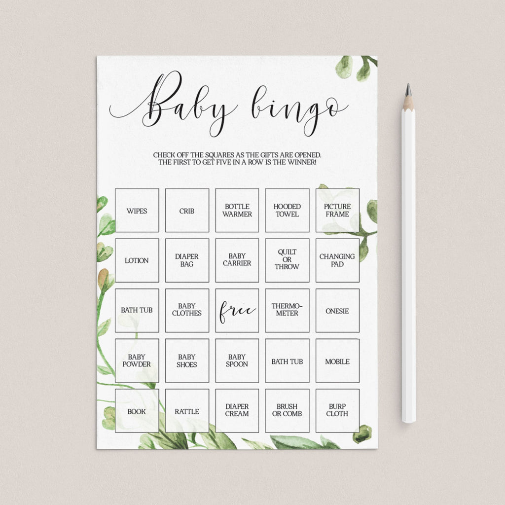 Classic Baby Bingo Gender Neutral Baby Shower Game Printable