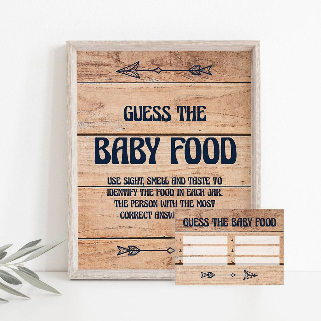 Rustic baby shower guess the baby food table sign printable by LittleSizzle