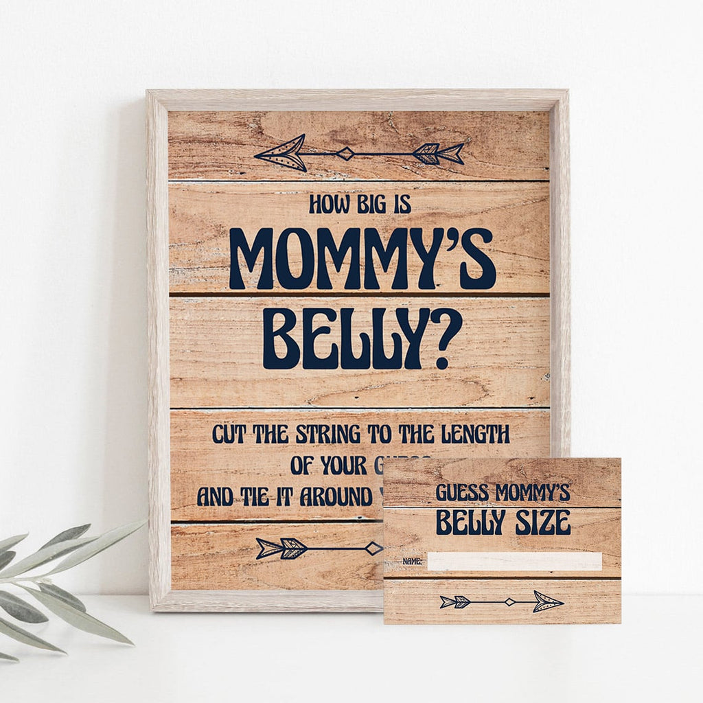 Mommy's belly game for rustic baby shower printable table sign by LittleSizzle