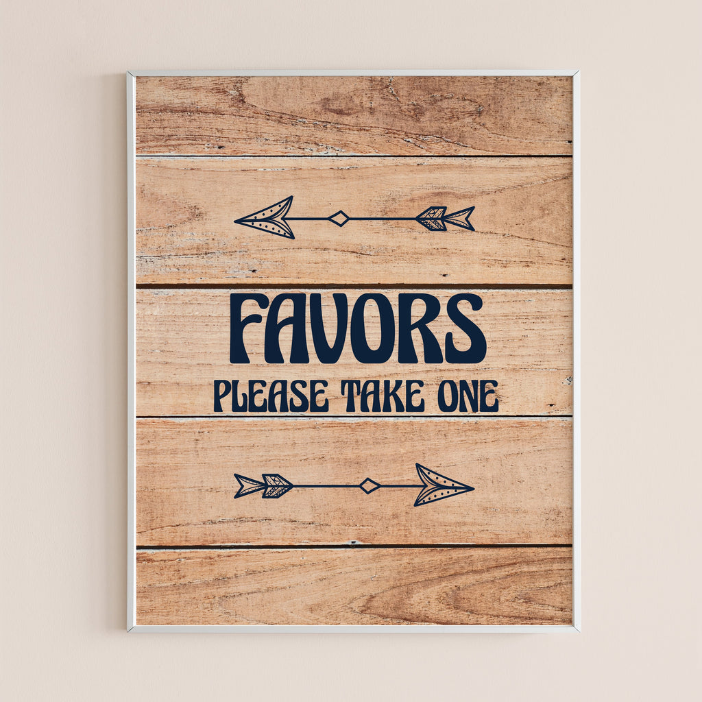 Printable favors sign wood background by LittleSizzle