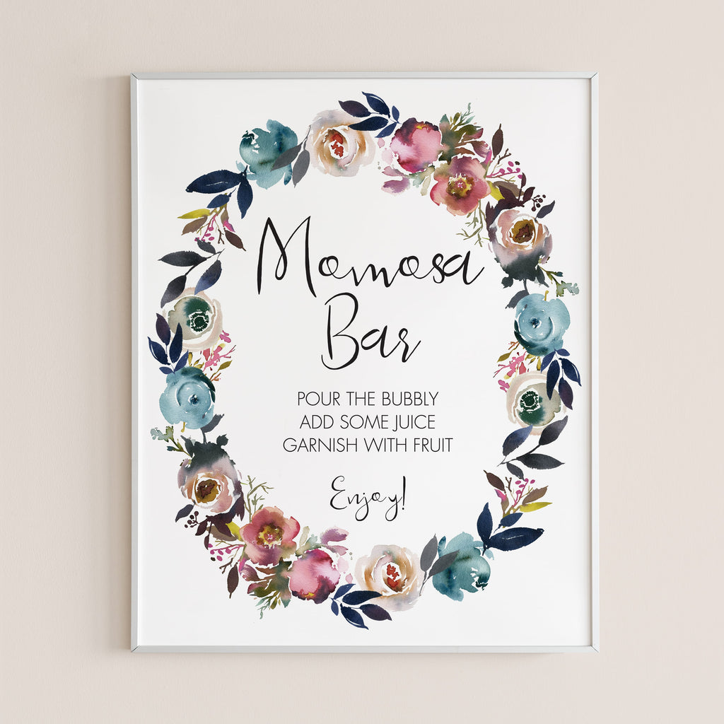 Baby shower bubbly bar sign printable flowers by LittleSizzle