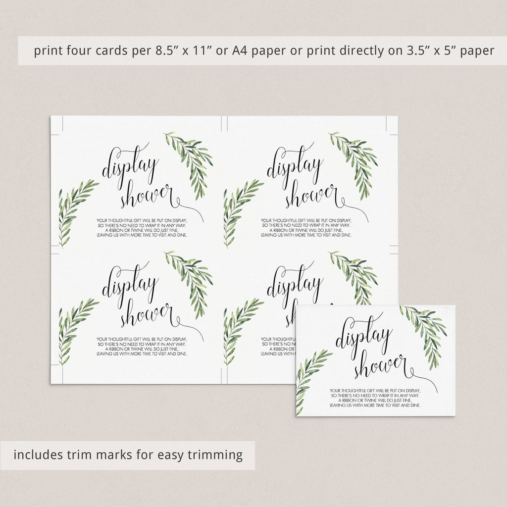 Printable Display Shower Cards Green Leaf
