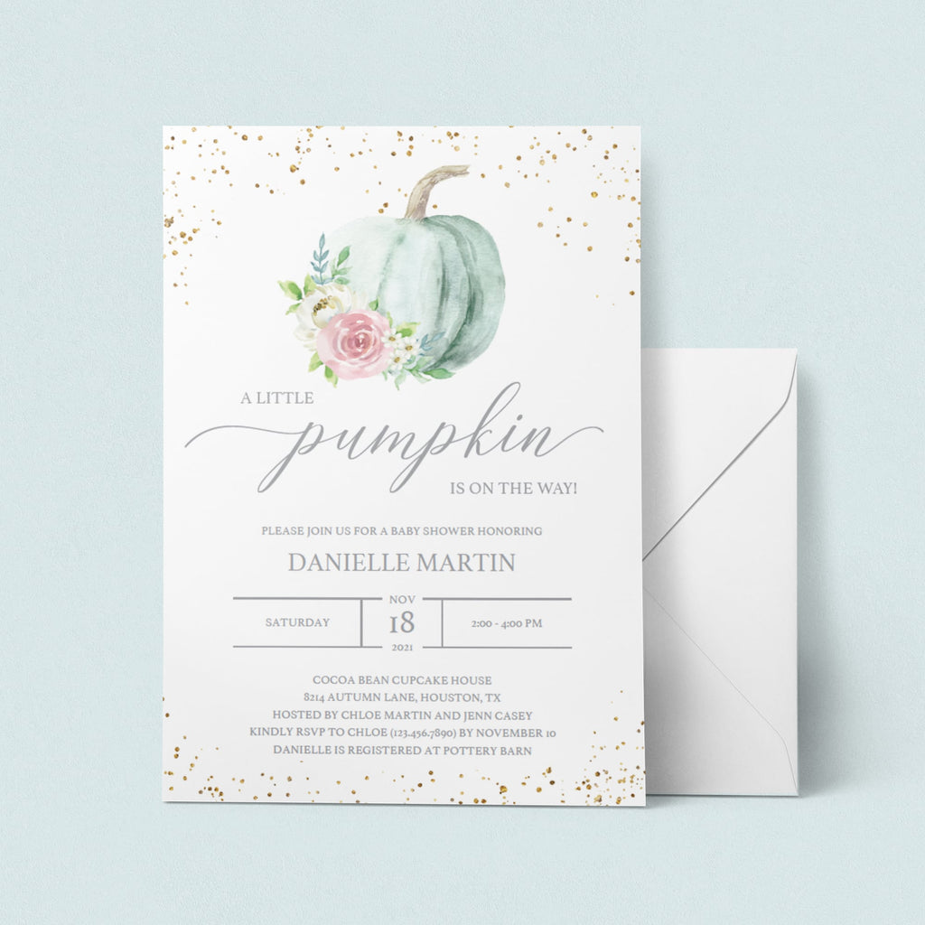 Watercolor pumpkin baby shower invites by LittleSizzle