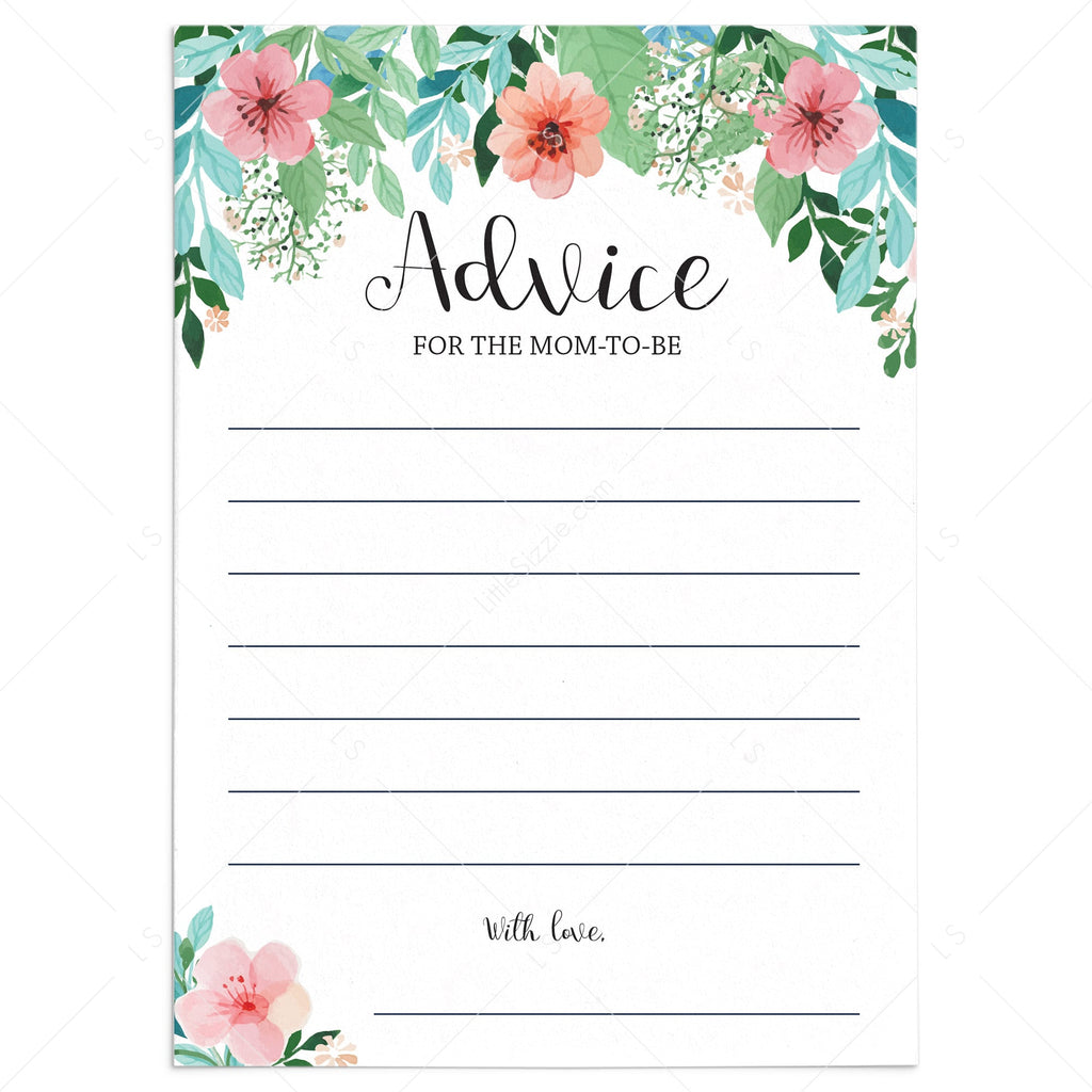 Baby Shower Advice Cards Printable Advice For Mom Advice For Mum Littlesizzle
