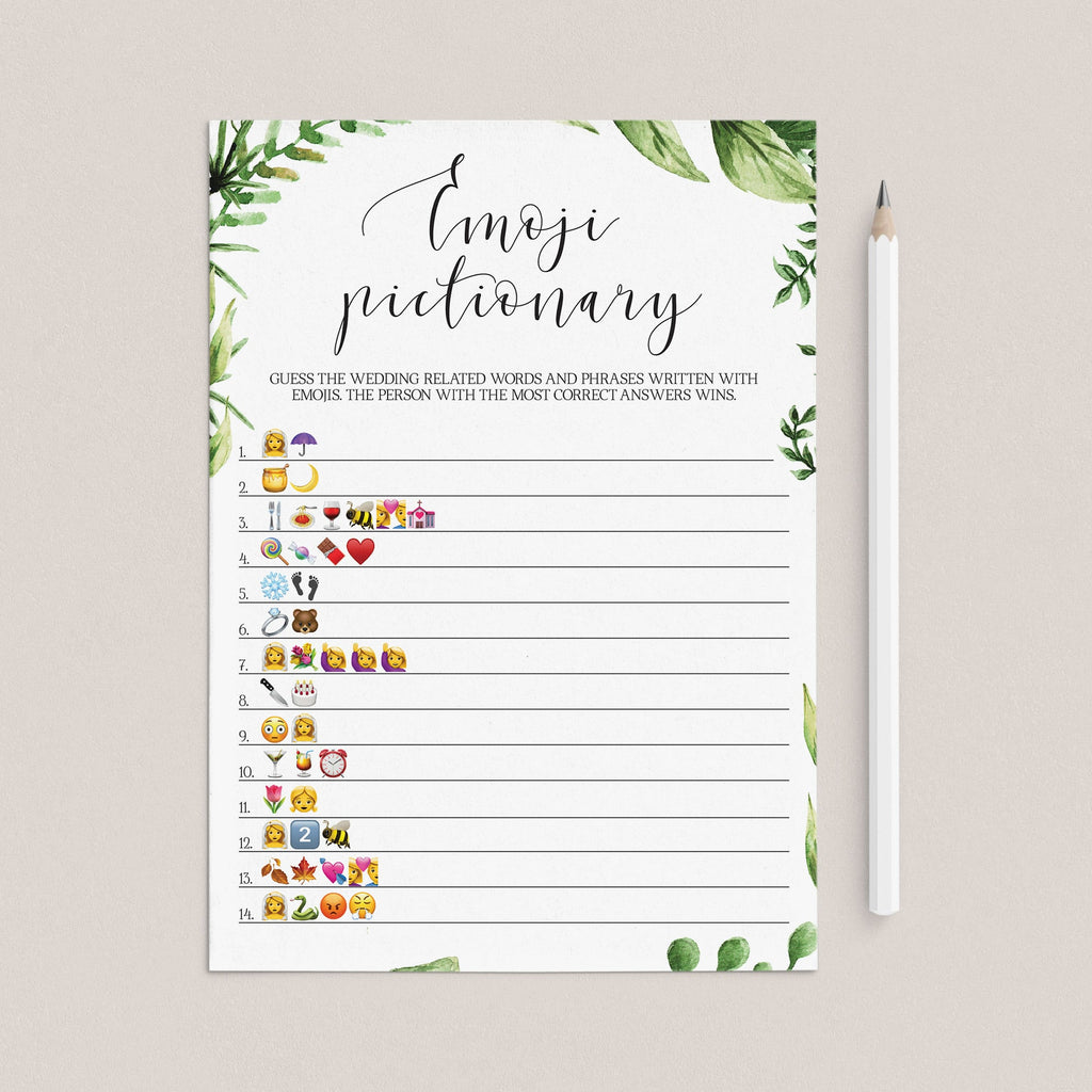 watercolor leaf bridalshower games instant download