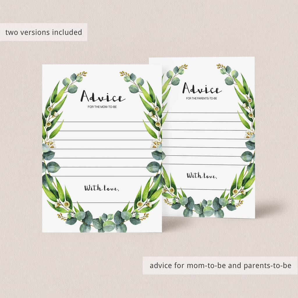 Watercolor green leaf baby advice cards by LittleSizzle