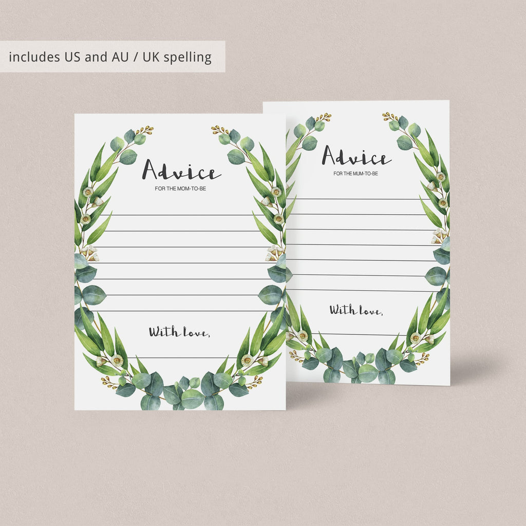 Advice for mum to be cards greenery theme by LittleSizzle