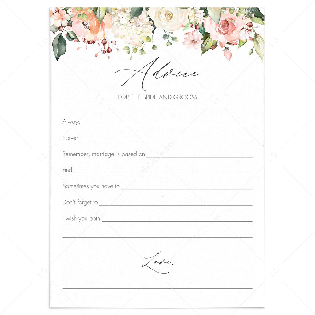 Advice For The Bride And Groom Cards Printable Floral Theme Littlesizzle