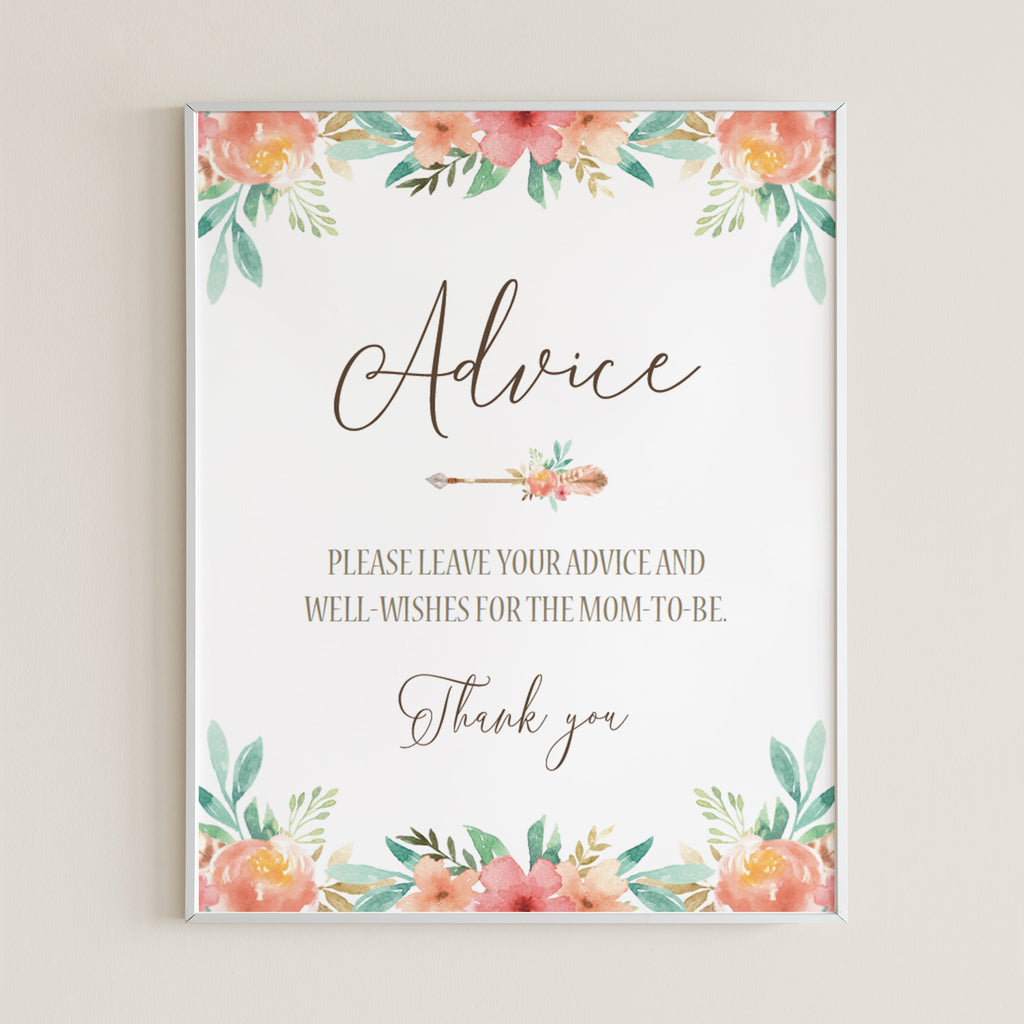 Floral Themed Advice Sign for Baby Shower Template by LittleSizzle