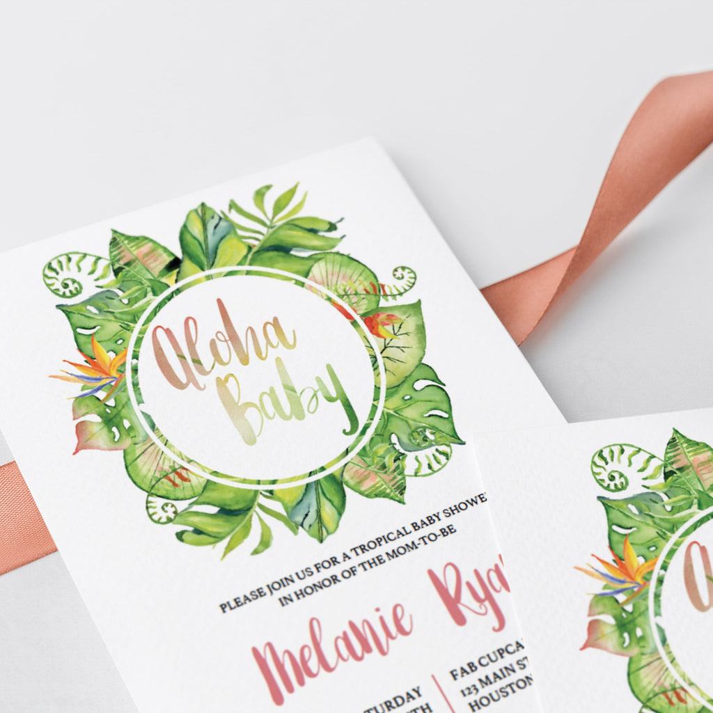 Close up of watercolor leaves on baby shower invitation template by LittleSizzle