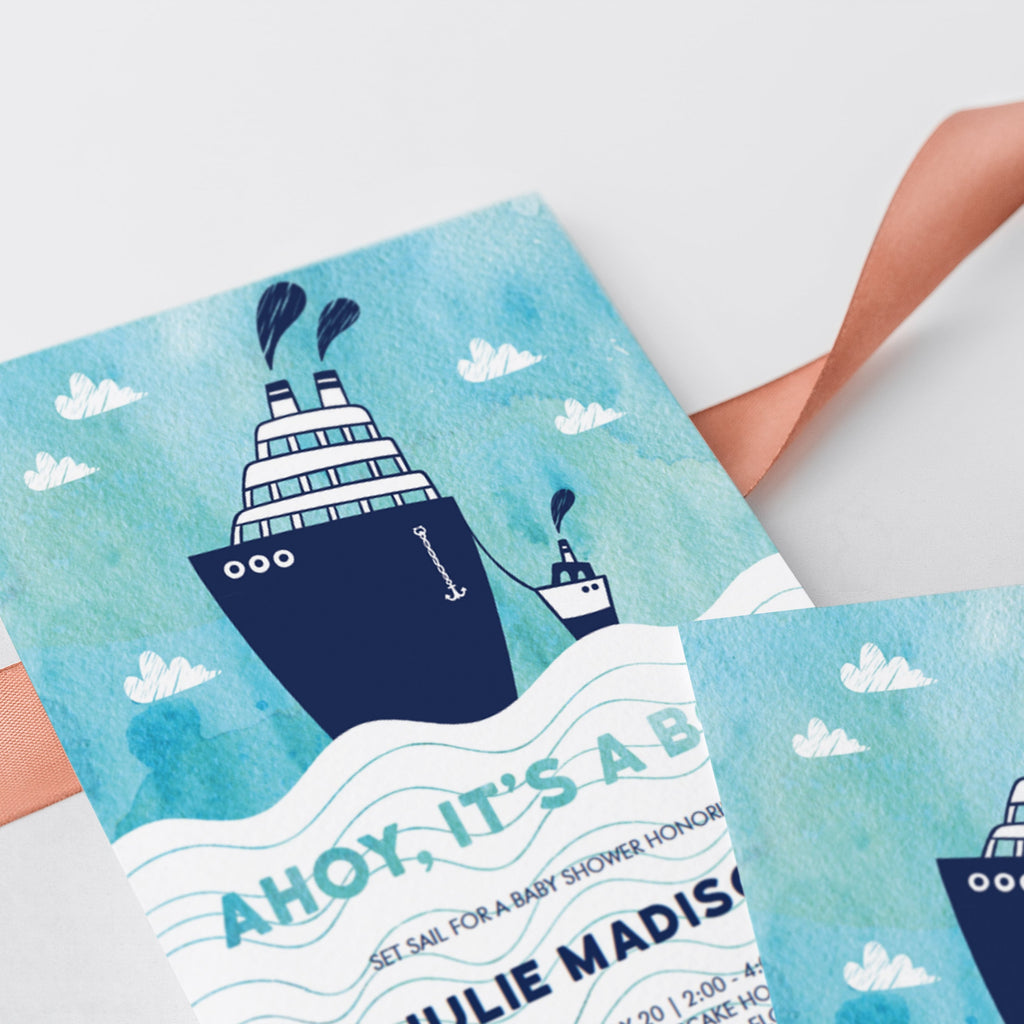 Watercolor boat sea themed baby shower invites by LittleSizzle