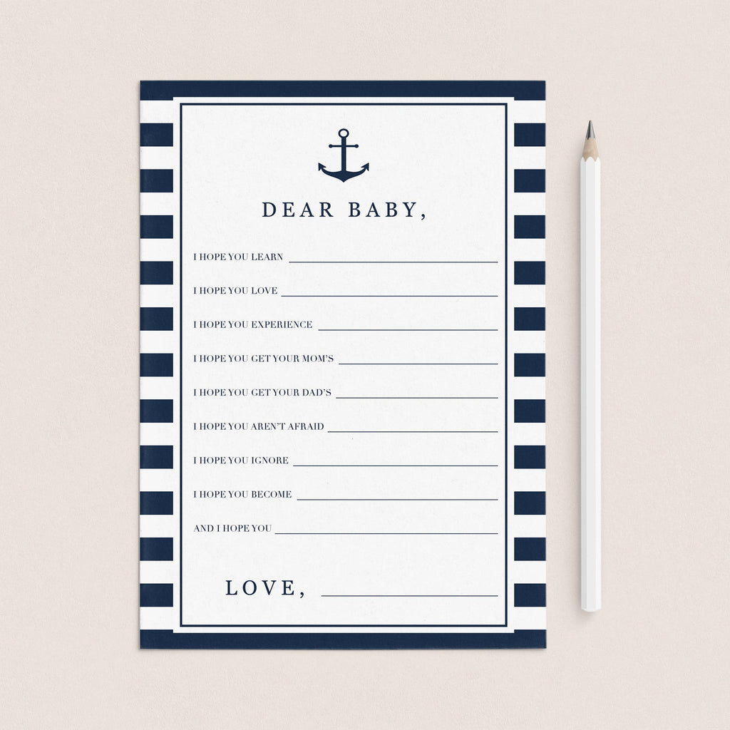 Nautical baby shower wishes for the new baby printable by LittleSizzle