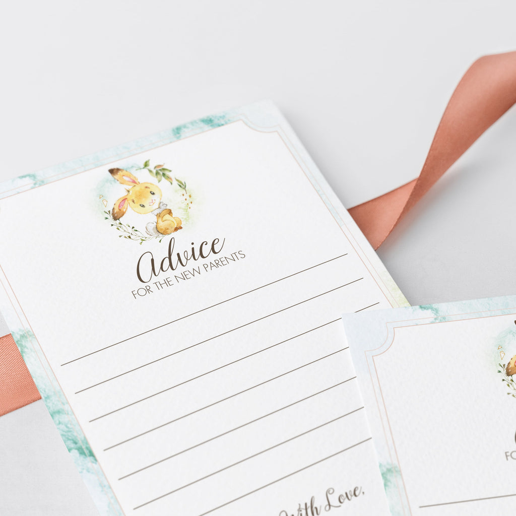 Instant download bunny baby advice cards by LittleSizzle