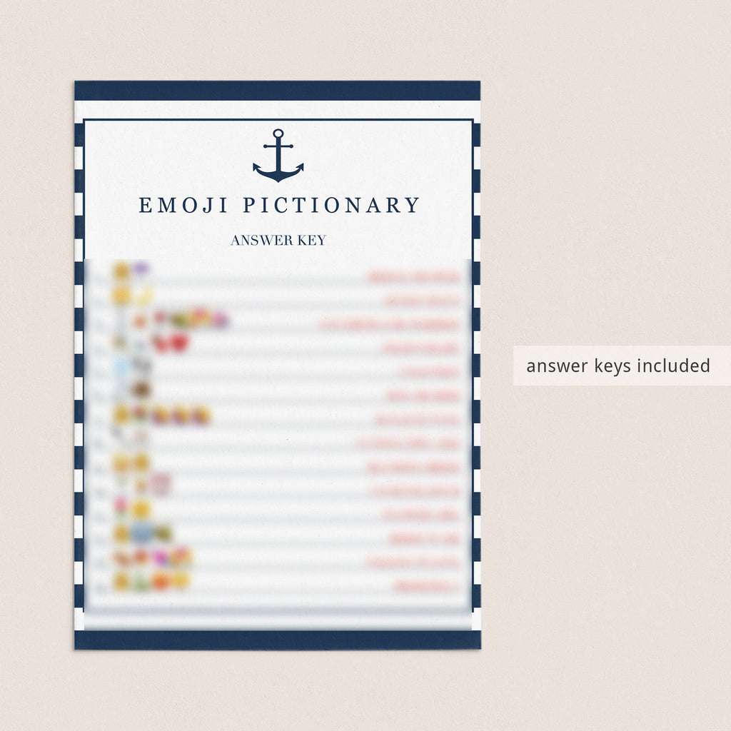 bridal shower emoji pictionary game cards printable with answer key