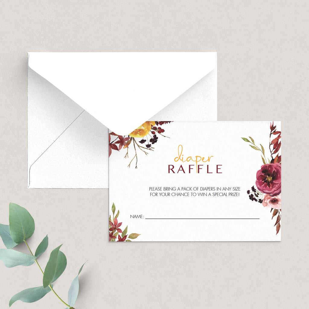 Floral diaper raffle cards boho theme by LittleSizzle
