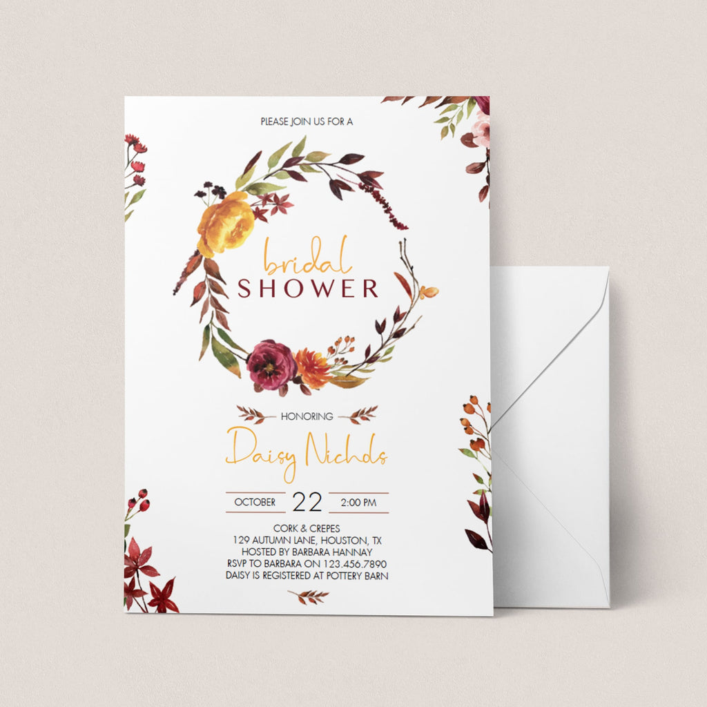 Floral wreath bridal shower invitation fall themed by LittleSizzle