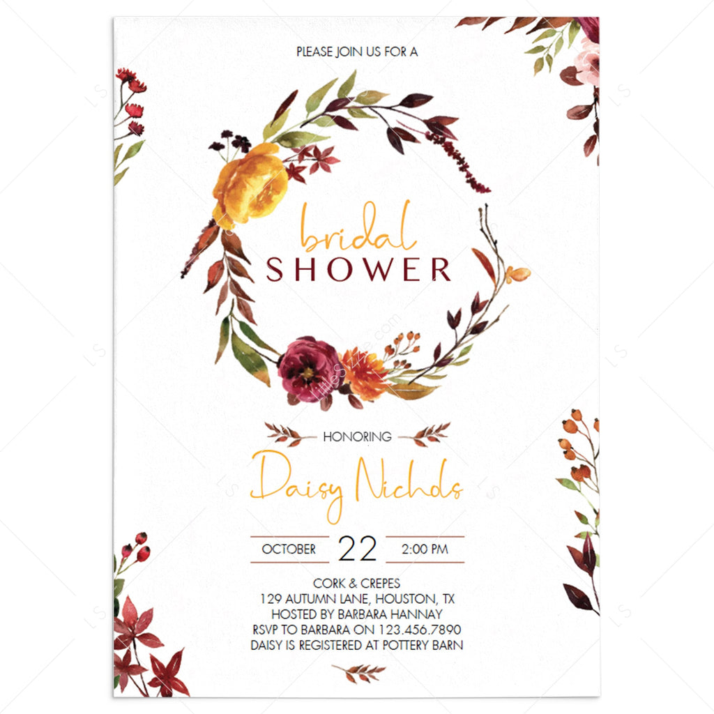 Burgundy flowers bridal shower invitation template by LittleSizzle