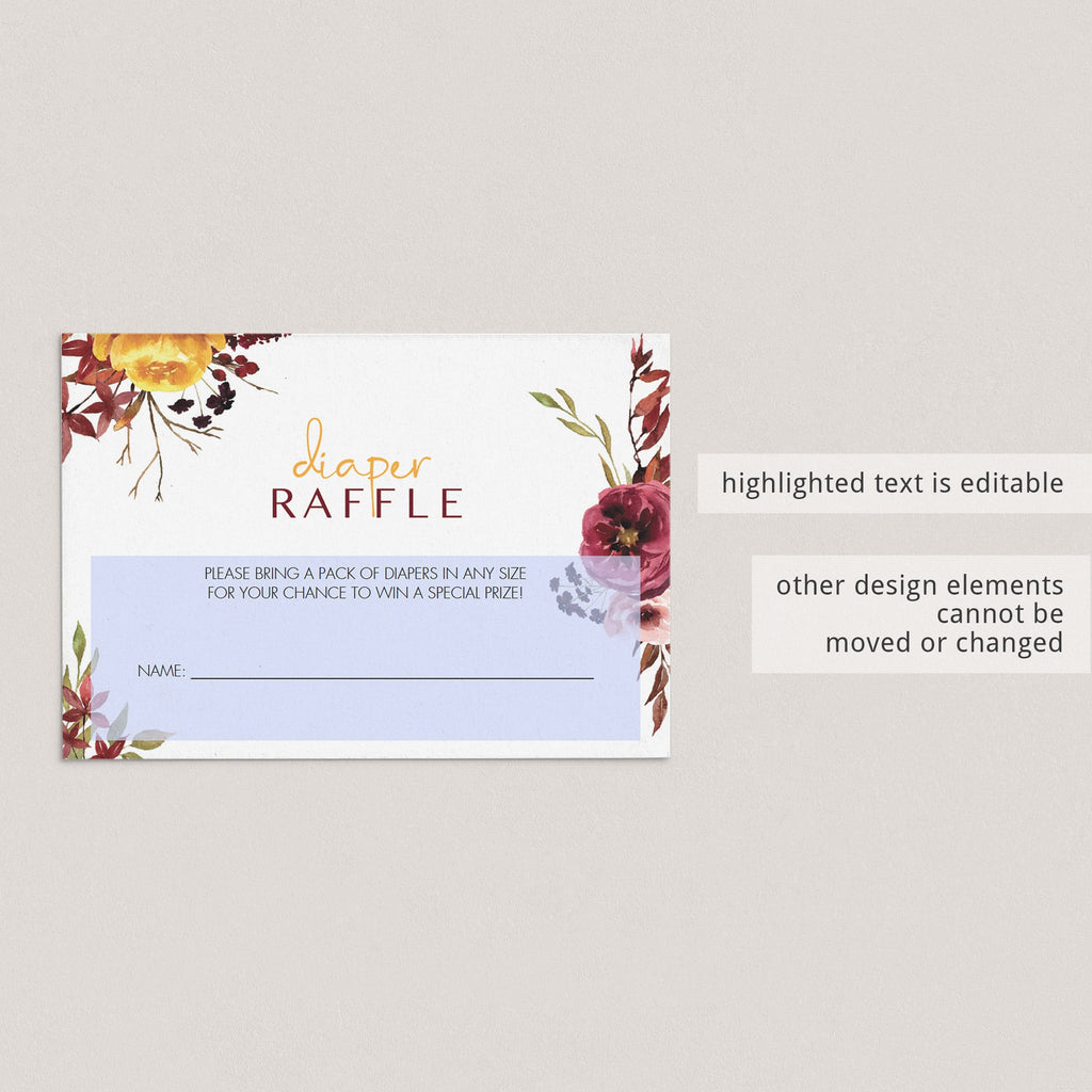 Burgundy watercolor diaper raffle tickets by LittleSizzle