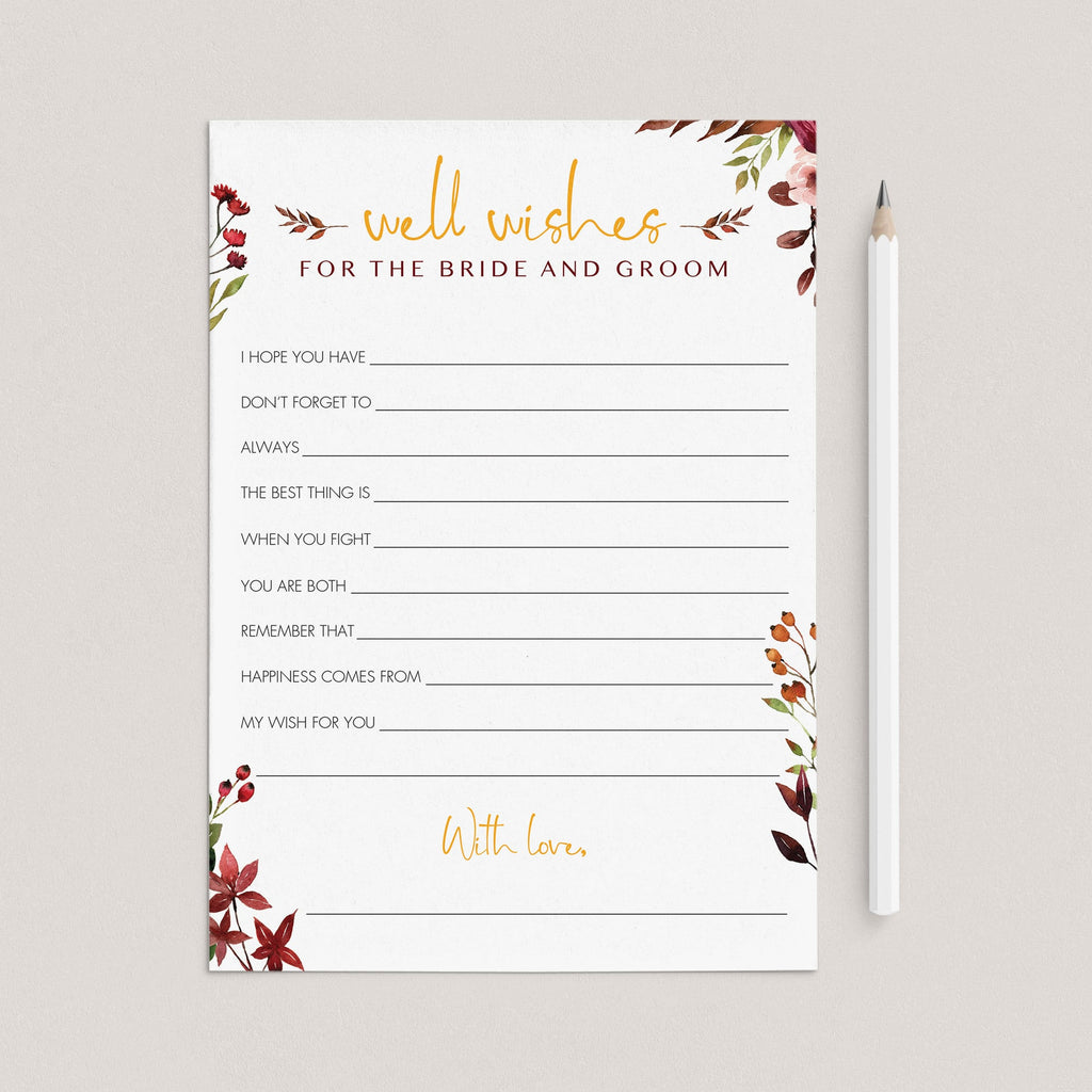 Red floral wedding wishes cards printable by LittleSizzle
