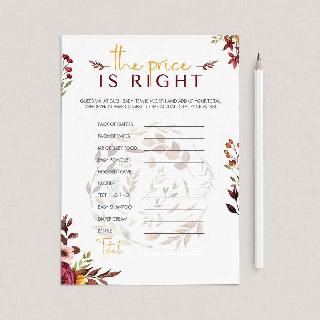 Autumn baby shower game the price is right by LittleSizzle