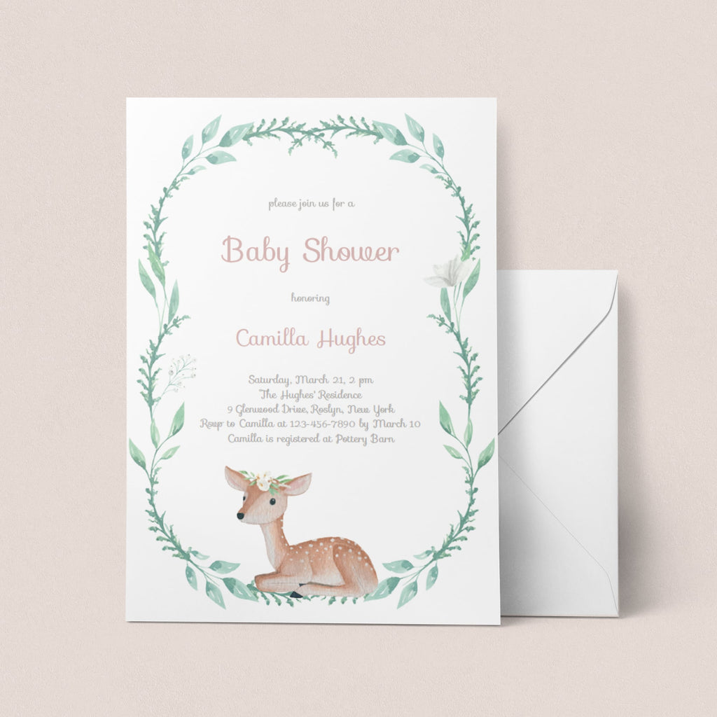 Baby Deer baby shower invitation template by LittleSizzle