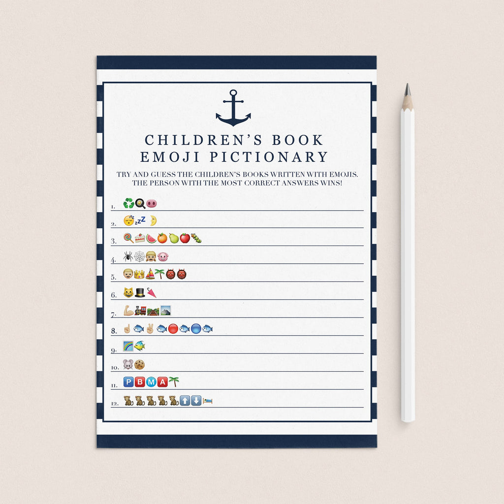 Emoji pictionary for boy baby shower printable by LittleSizzle