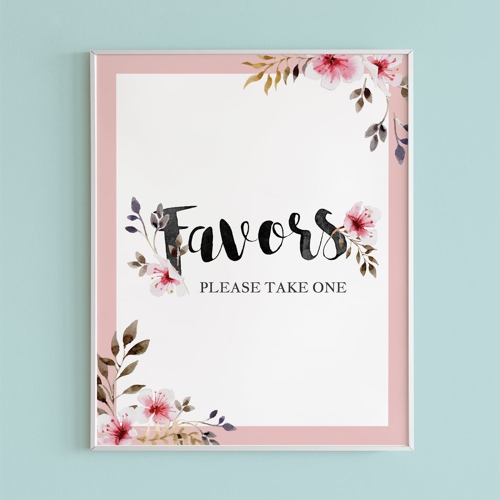 Instant download favors sign for botanical shower by LittleSizzle