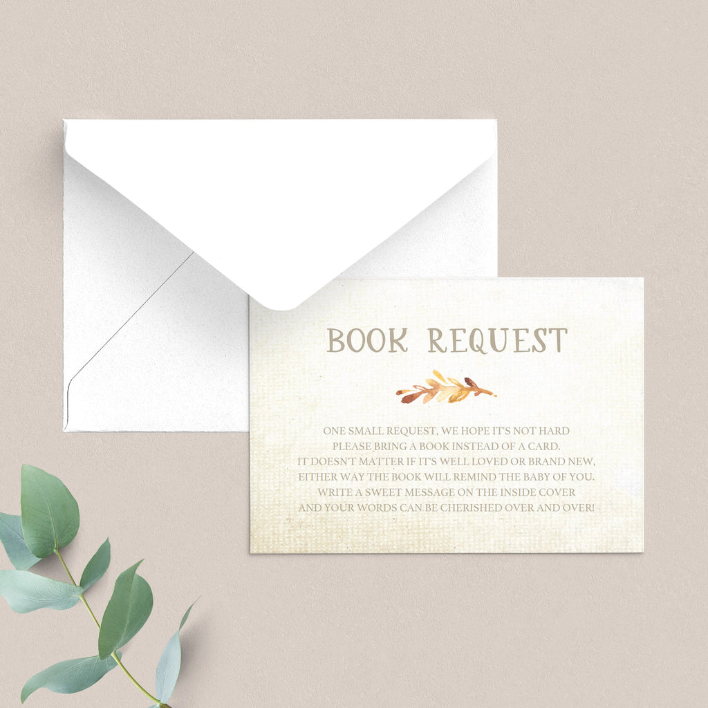 Editable book request cards for fall themed baby shower by LittleSizzle