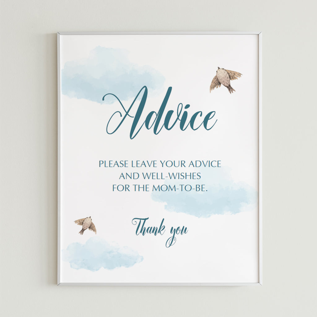 Printable sign for Baby Advice Cards blue clouds by LittleSizzle