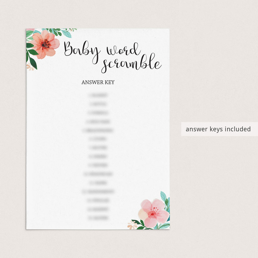 Baby word scramble answers for baby shower by LittleSizzle