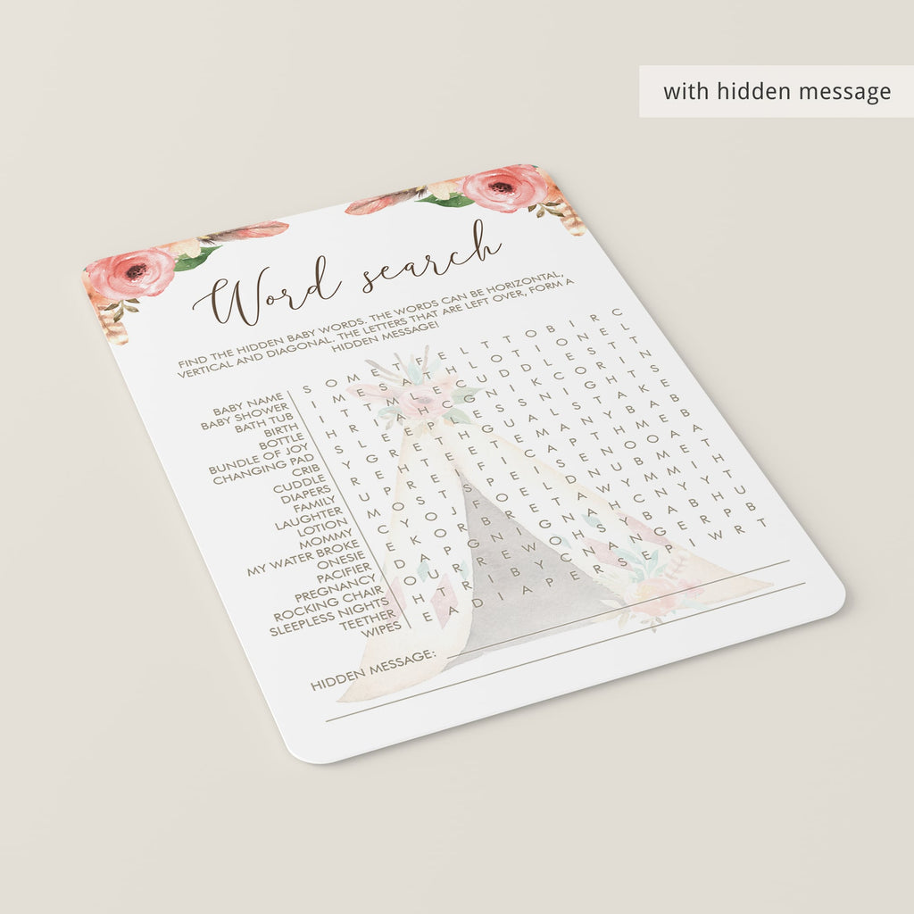Tribal Baby Shower Games Baby Word Search Printable