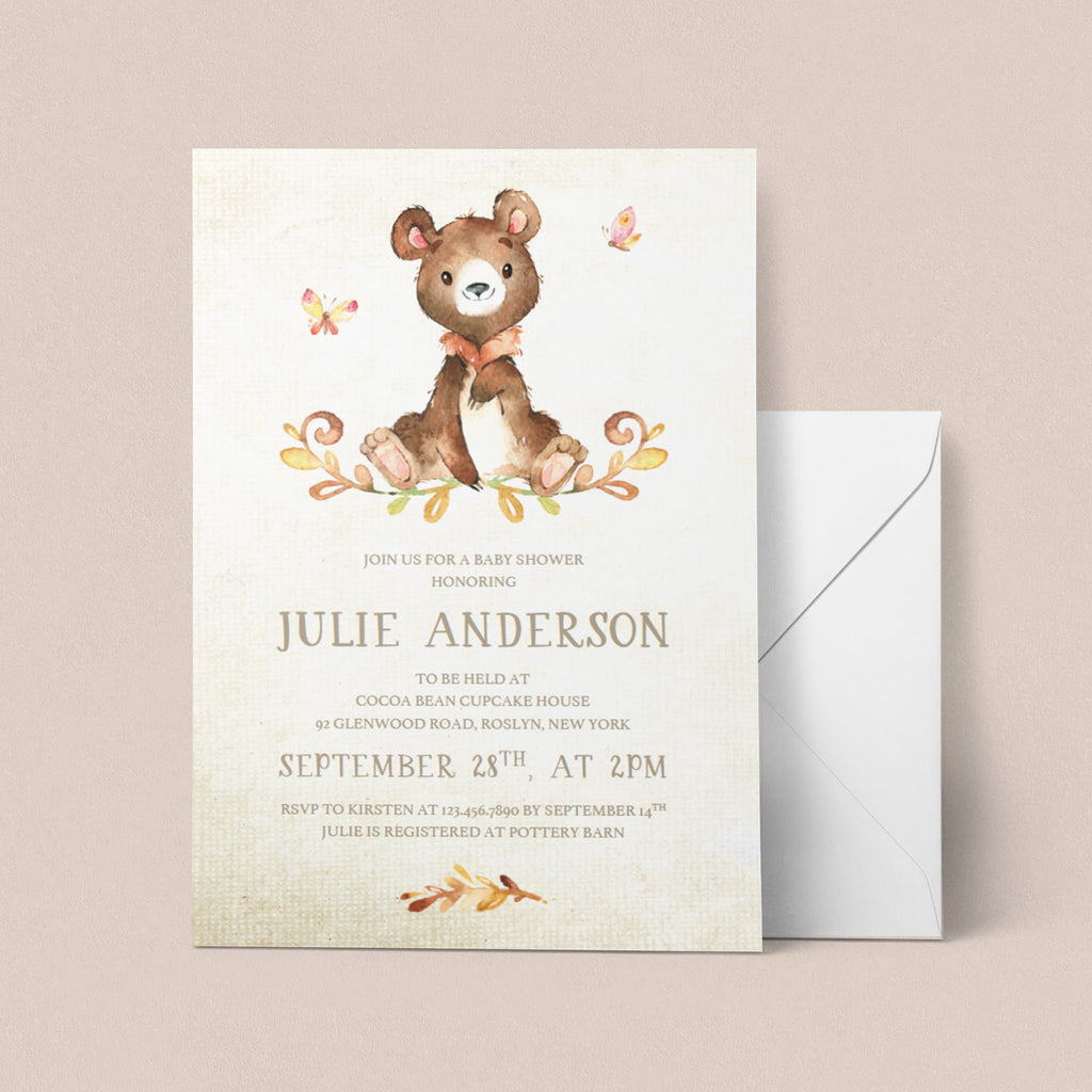 Bear baby shower invite template watercolor by LittleSizzle