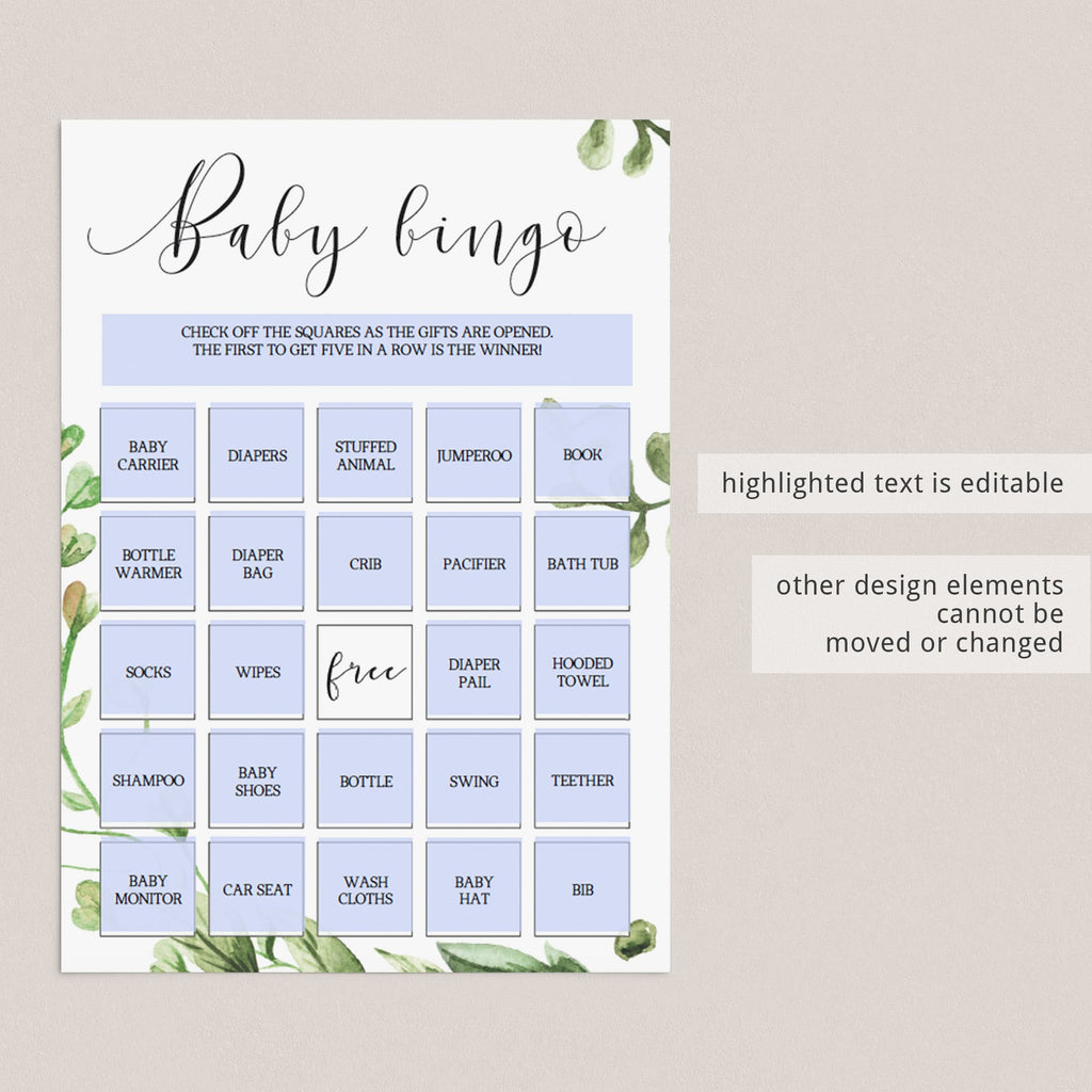 DIY baby shower bingo game with greenery leaf by LittleSizzle