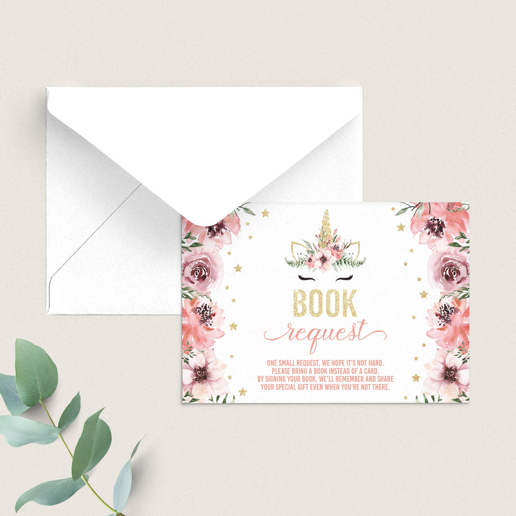 Unicorn BabyShower Book Request Card Download by LittleSizzle