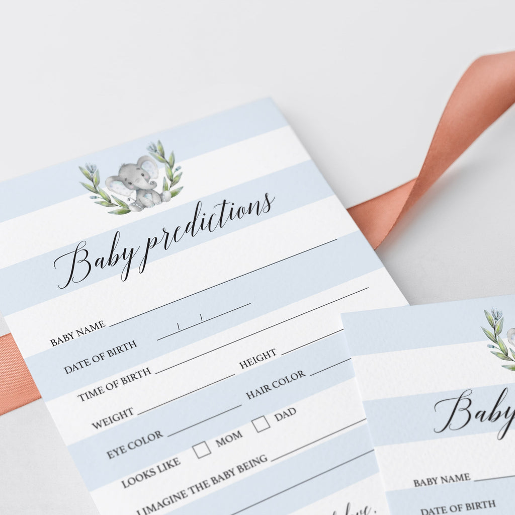 Printable Elephant Baby Shower Prediction Card