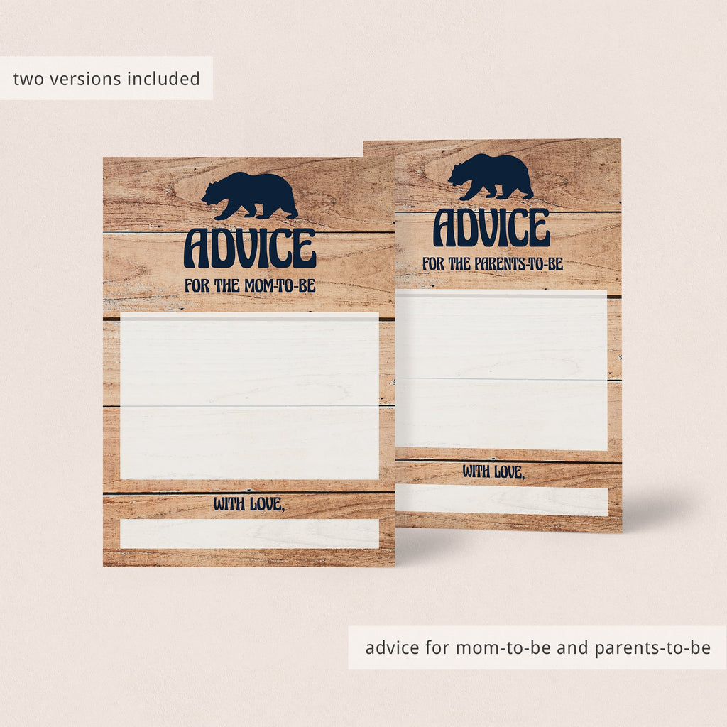 Baby advice cards for rustic themed baby shower by LittleSizzle