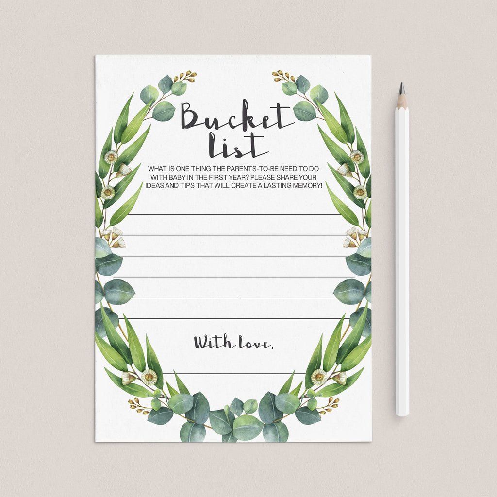 Green wreath bucket list cards printable by LittleSizzle