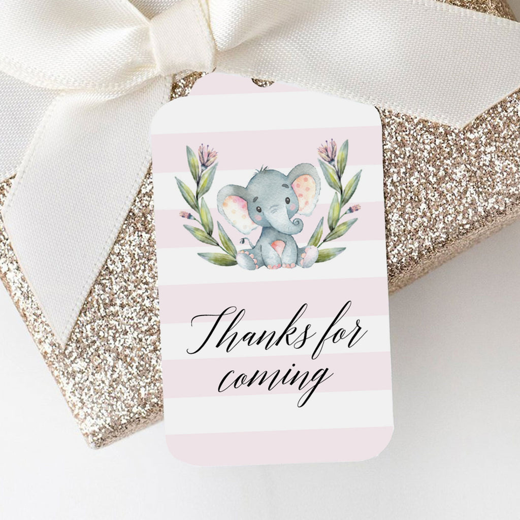 Watercolor elephant favor tag template by LittleSizzle