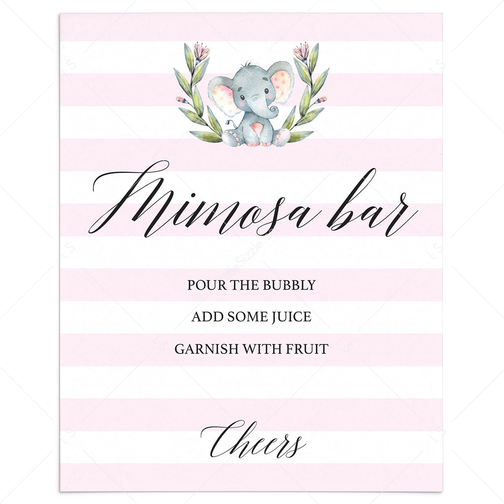 Pink white mimosa bar sign printable by LittleSizzle