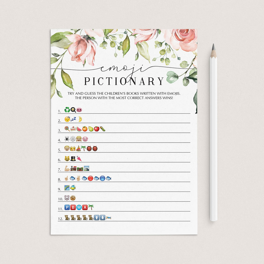 Floral emoji pictionary baby shower game instant download by LittleSizzle